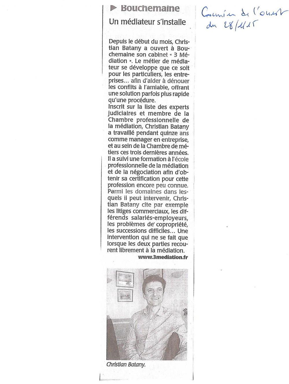Courrier de l'ouest du 28/01/2015 : Bouchemaine. Un médiateur s'installe